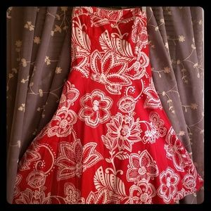 Floral Red Strapless dress